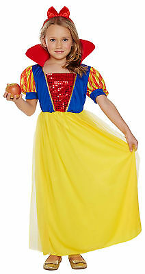 Snow White Child Girls Fancy Dress Up Costume Princess Outfit Age 4-12 Book Day