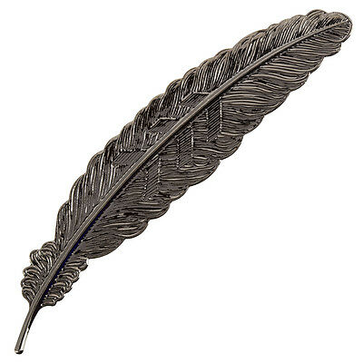 Metal Brass Feather Bookmark Gunmetal Grey Finish 115mm - Pack of 1 (H92/3)