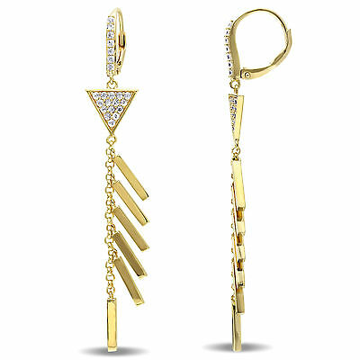 Amour 18k Yellow Gold Over Silver White Sapphire Drop Earrings