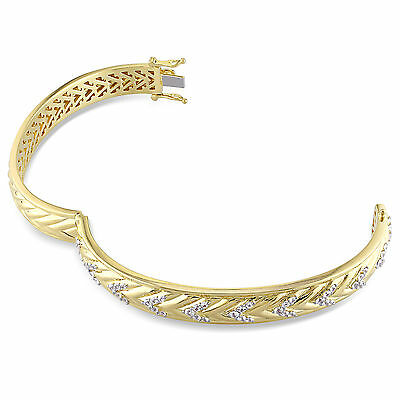 Amour 18k Gold Over Silver White Sapphire Bangle Bracelet