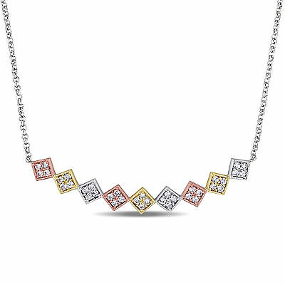 Amour 18k Gold with Rose Over Silver White Sapphire Zig Zag Necklace