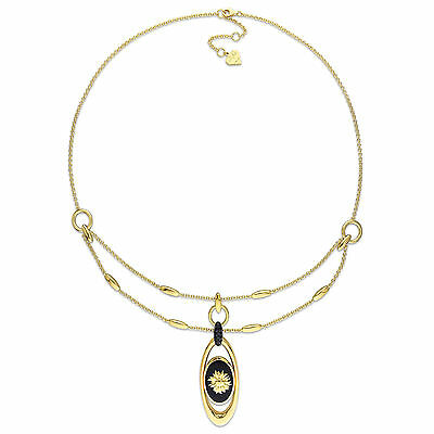 Amour 18k Gold Over Silver Black Agate & Sapphire Sunflower Necklace