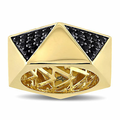 Amour 18k Yellow Gold Over Silver Black Sapphire Ring