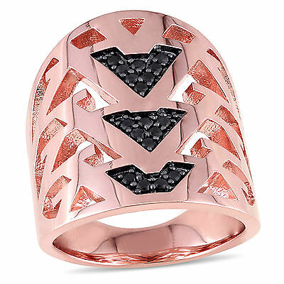 Amour 18k Rose Gold Over Sterling Silver Black Sapphire Openwork Ring