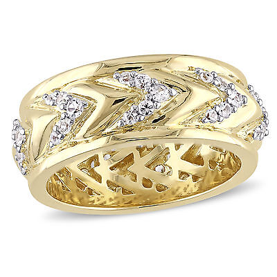 Amour 18k Yellow Gold Over Sterling Silver White Sapphire Zig Zag Ring