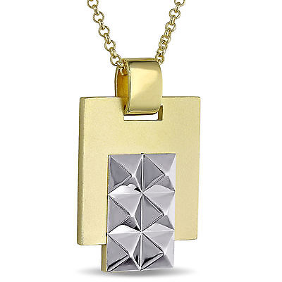 Amour 18k Yellow Gold Over Silver Men's Geometric Necklace