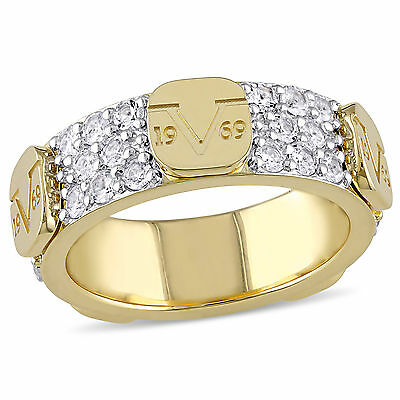 Amour 18k Yellow Gold Over Sterling Silver White Sapphire Ring