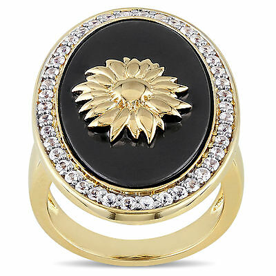 Amour 18k Gold Over Silver Black Agate Sapphire Sunflower Cocktail Ring