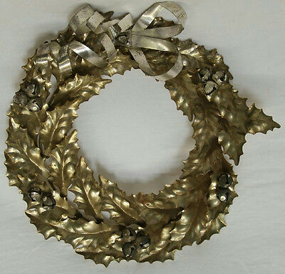 """10"""" Metal Gold Silver Tone Leaf Round Wreath Christmas Wall Hanging"""