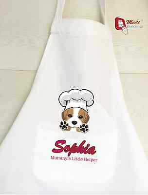 PERSONALISED GIRLS BOYS KIDS APRON CUTE PUPPY design - Gift- Any Name/Text