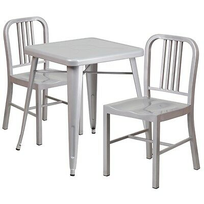 Metal Restaurant/Cafe/Bar Indoor-Outdoor Table Set with 2 Slat Back Chairs