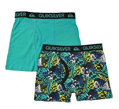 Quiksilver Boys Teal & Printed 2pk Boxer Briefs Size 4/5 6/7 $18