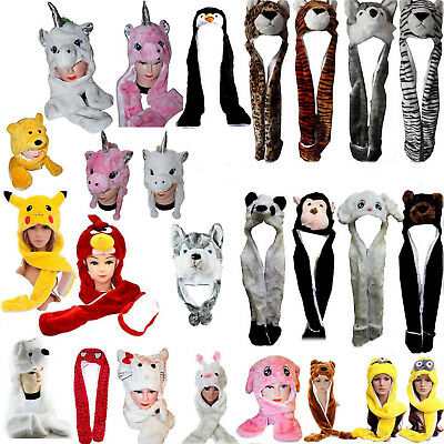 New Kids Teens Long Animal Hat Hood Scarf Pocket Soft Fleece Lined Snood