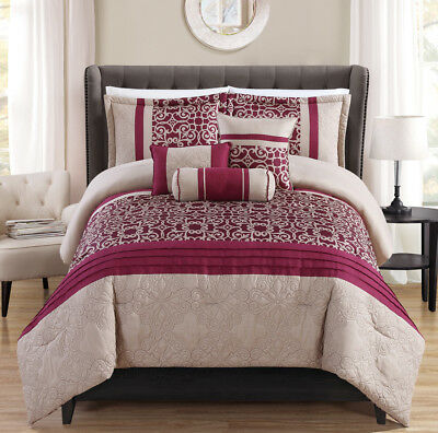 6 Piece Darly Reversible Berry/Taupe Comforter Set