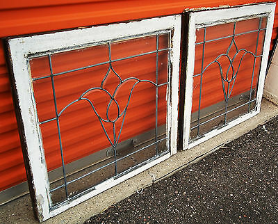 Transom Leaded Windows Beveled Tulip Pair Antique Vintage Art Deco English Glass