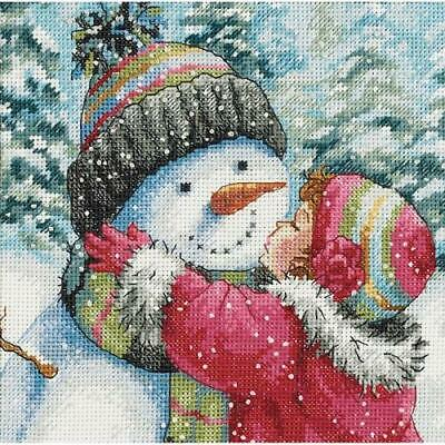 """""""Gold Petite A Kiss For Snowman Counted Cross Stitch Kit-6""""""""X6"""""""" 18 Count"""""""