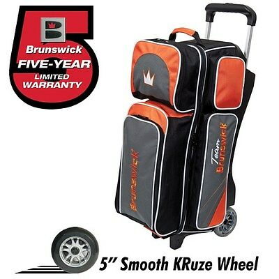 Brunswick Team Brunswick SLATE/ORANGE 3 Ball Roller Bowling Bag