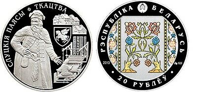 2013 Belarus Huge 50mm silver Color Proof 20 roubles-Belts of Slutsk-Weaver