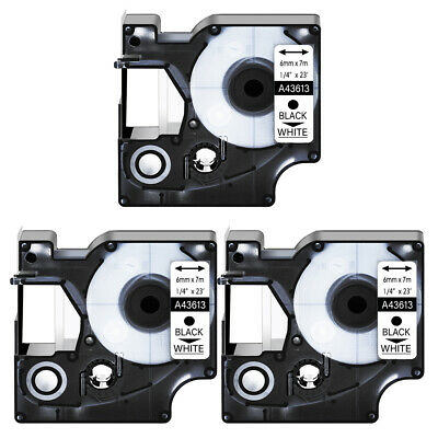 """3PK 43613 Black on White Label Tape for DYMO D1 LabelManager 280 300 6mm 1/4"""""""