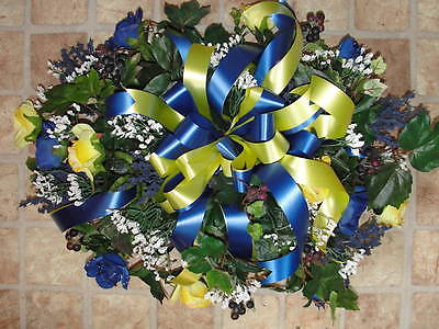 Blue Yellow Roses Cemetery Ivy Sympathy Grave Tombstone Saddle w/1 urn arrg.