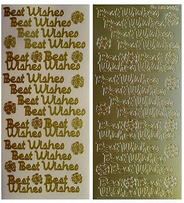 BEST WISHES Peel off Stickers Card Making Sentiments Flowers Gold or Silver