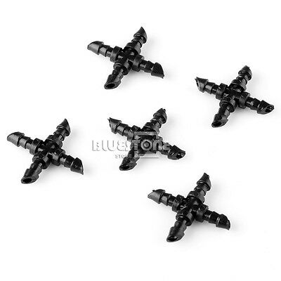 """20pcs Agricultural Garden Irrigation 1/4"""" Barb Drip CROSS Connector Fittings"""