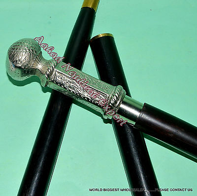 Gentleman's Nickle  Knob Walking Stick  Brass Handle Vinage Cane Walking Stick
