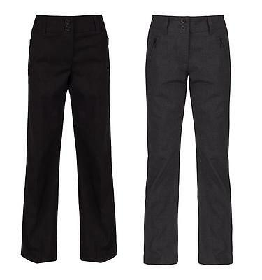 Girls Ex High Street School Trousers, Grey, Navy Or Black, School Uniform