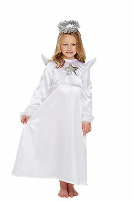 Girls Angel with Wings Halo Fur Fancy Dress Dressing Up Outfit Age 4-9 Years New