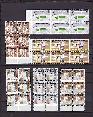 SINGAPORE 1973 SOUTH EAST ASIA GAMES BLOCK of 6 STAMPS COMPLETE SETS - MINT UH
