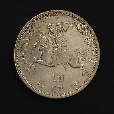 1925 Lithuania 5 Litai - About Uncirculated - KM# 78