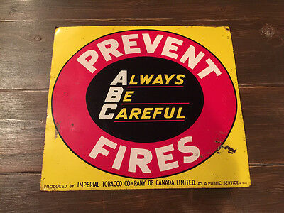 "50s 17""x15"" Prevent Fires Always Be Careful Tin Sign Imperial Tobacco H-9443"