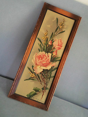 Catherine Klein Rose Painting Re-print Vintage Framed 1950s 9 x 22 inch