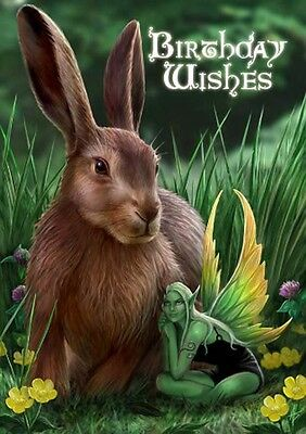 New Hare And Sprite Anne Stokes Fantasy Art Birthday Greeting Card