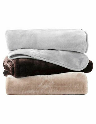 NEW Heritage Faux Mink Polyester Blanket in Silver Grey