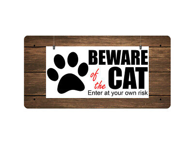 WP_ANI_005 BEWARE of the CAT - Metal Wall Plate