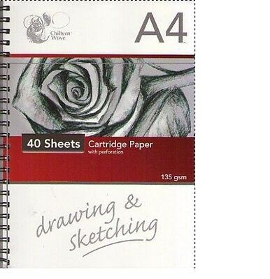 Chiltern Wove A4 Spiral Bound 40 Sheet Cartridge Paper Pad Drawing & Sketching