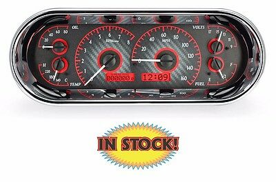 Dakota Digital Universal Rectangle Analog Gauges Carbon Fiber Red VHX-1018-C-R