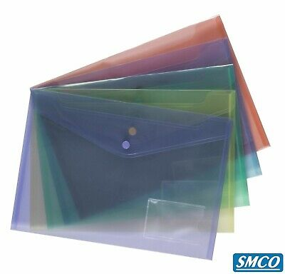 Press-stud Popper Document Folder File Wallet A4 Qty of 5 Assorted Colours