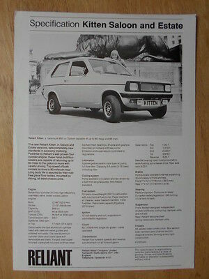 RELIANT KITTEN SALOON & ESTATE 1976 UK Mkt Sales / Specs Leaflet Brochure