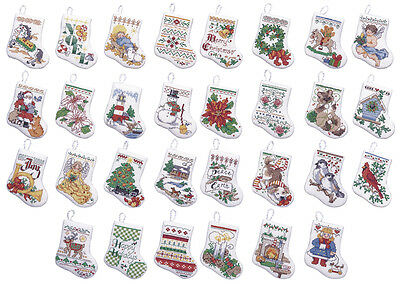 "Tiny Stocking Ornaments Counted Cross Stitch Kit-3.5"" 14 Count Set Of 30"