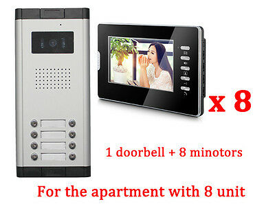 Apartment 8 Units Wired Video Door Phone Audio Visual Entry Intercom System 1V8