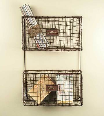 New Primitive Rustic Wall Mount Wire Letter Holder Mail Cubby Basket File Rack