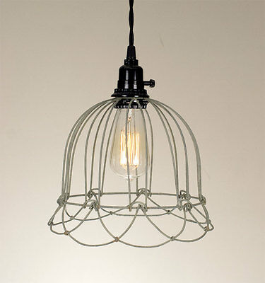 Wire Bell Pendant Hanging Light Barn Roof Grey Lamp Vintage Rustic Shabby Chic
