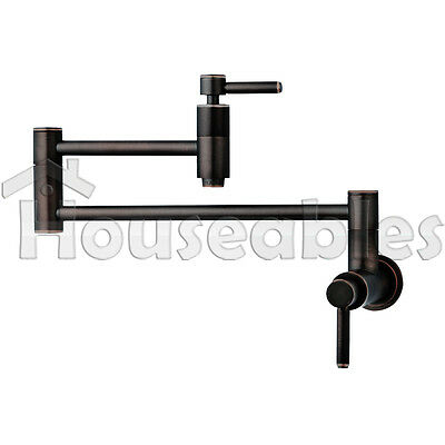 """21"""" Modern Retractable Double Joint Wall Mount Pot Filler Oil Rubbed Bronze"""