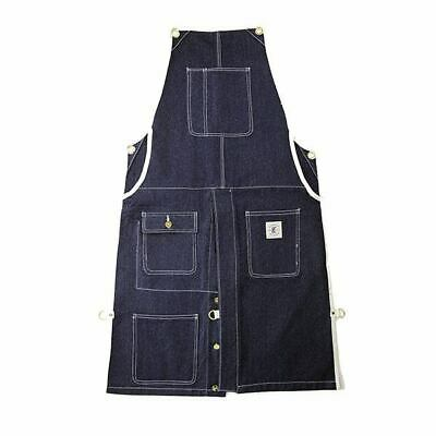 Knife & Flag Split Leg Canvas Apron in Denim Blue