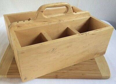 """Large Vintage Hand Made Tool Box Wooden 6 Compartment 17 x 13 x 6"""" Wood Heavy"""