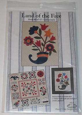 Land Of The Free Block #6 of 12 Cornucopia Wall Quilt Pattern and Instructions