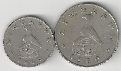 2 DIFFERENT COINS from ZIMBABWE - 20 CENTS & 1 DOLLAR (BOTH DATING 1980)..