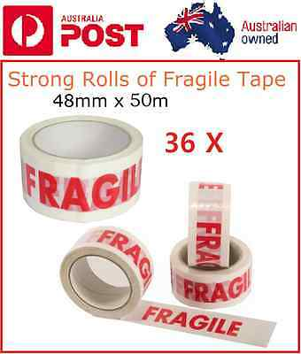 36 Rolls Fragile Tape Strong Parcel Sticky Packaging Red on White High Quality